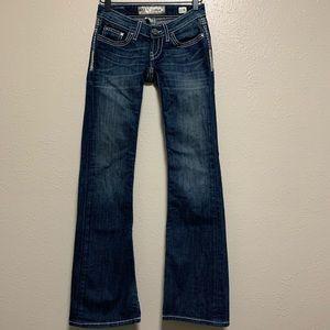 BKE Starlite flare bling pocket denim jeans